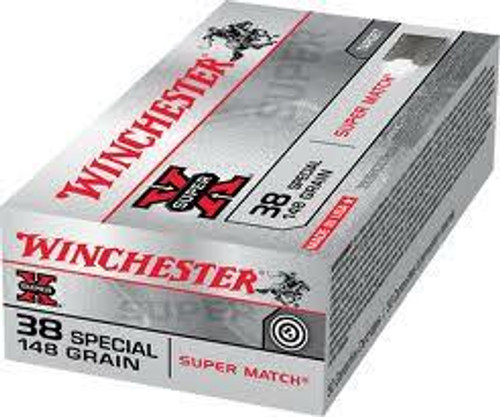 Winchester Super-X Ammunition - 38 Special - 148 Grain Lead-Wad Cutter Super Match - 50 Rounds - Brass Case