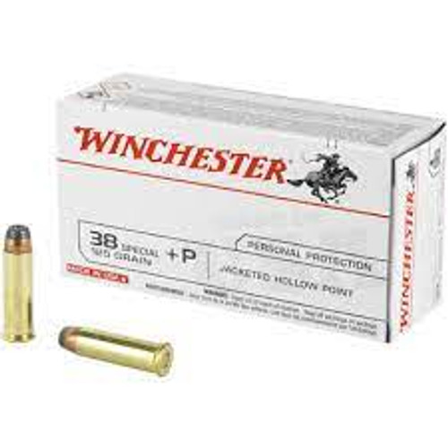 Winchester Ammunition - 38 Special +P - 125 Grain Jacketed Hollow Point - 50 Rounds - Brass Case