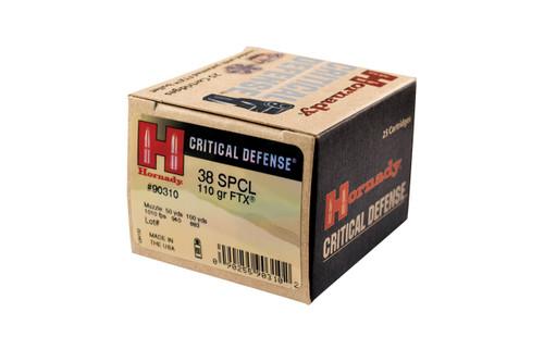 Hornady Critical Defense Ammunition - 38 Special - 110 Grain FTX - 25 Rounds - Brass Case