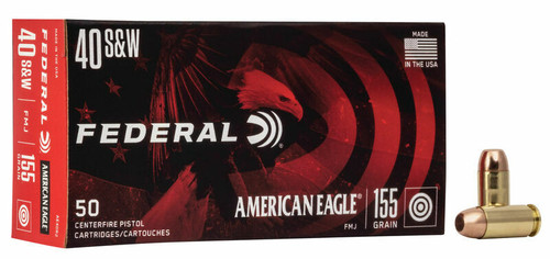 Federal American Eagle Ammunition - 40 S&W - 155 Grain Full Metal Jacket - 50 Rounds - Brass Case