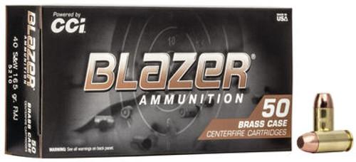 CCI Blazer Ammunition - 40 S&W - 165 Grain Full Metal Jacket - 50 Rounds - Brass Case