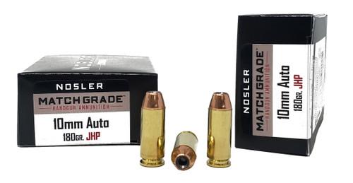 Nosler Match Ammunition - 10 MM - 180 Grain Jacketed Hollow Point - 20 Rounds - Brass Case