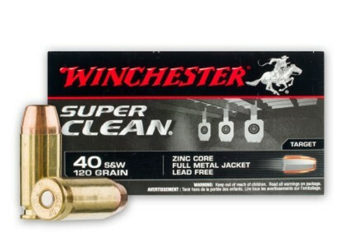 Winchester Super Clean Ammunition - 40 S&W - 120 Grain Full Metal Jacket (Lead Free) - 50 Rounds - Brass Case