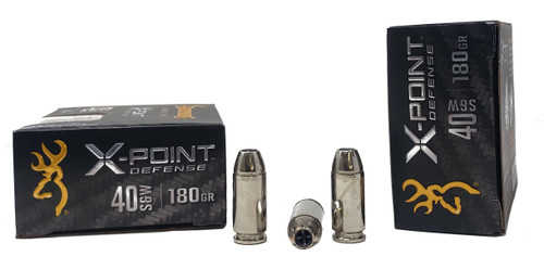Browning X-Point Ammunition - 40 S&W - 180 Grain X-Point Hollow Point - 20 Rounds - Nickel Plated Brass Case