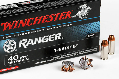 Winchester Ranger Ammunition - 40 S&W - 180 Grain T-Series - 50 Rounds - Nickel Plated Brass Case