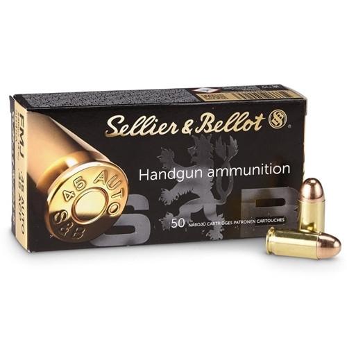Sellier & Bellot Ammunition - 45 Auto - 230 Grain Full Metal Jacket - 50 Rounds - Brass Case