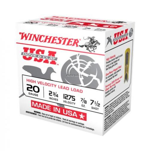"Winchester Dove & Clay Ammunition - 20 Gauge - 2 3/4"" - 7/8 oz.  - 7 1/2 Lead Shot - 250 Rounds"