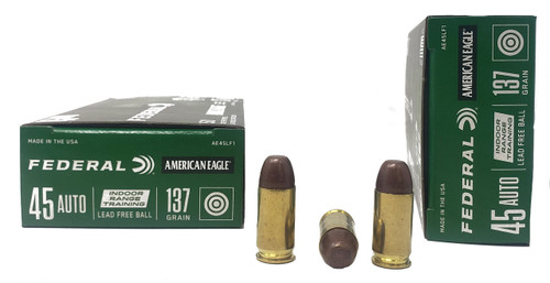 Federal American Eagle Ammunition - 45 Auto - 137 Grain Lead Free Ball - 50 Rounds - Brass Case