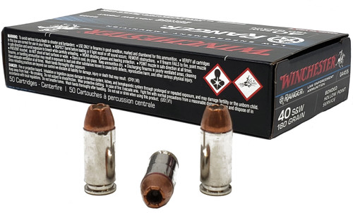 Winchester Ranger Ammunition - 40 S&W - 180 Grain Bonded Hollow Point - 50 Rounds - Nickel Plated Brass Case