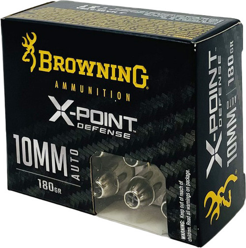 Browning Defense Ammunition - 10 MM Auto - 180 Grain X-Point Hollow Point - 20 Rounds - Nickel Plated Brass Case