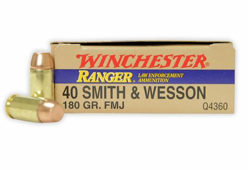 Winchester Ranger Ammunition - 40 S&W - 180 Grain Full Metal Jacket -  50 Rounds - Brass Case