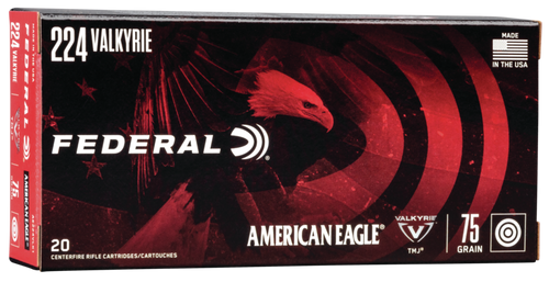 Federal American Eagle Ammunition - 224 Valkyrie - 75 Grain Full Metal Jacket - 200 Rounds Case