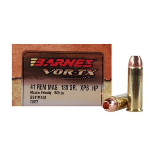 Barnes VOR-TX Ammunition - 41 Rem Mag - 180 Grain XBP Hollow Point - 20 Rounds - Brass Case