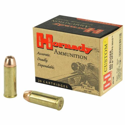 Hornady Custom Ammunition - 480 Ruger - 325 Grain XTP - 20 Rounds - Brass Case
