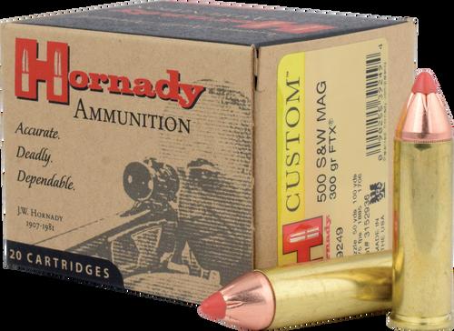 Hornady Custom Ammunition - 500 S&W Magnum - 300 Grain FTX - 20 Rounds - Brass Case