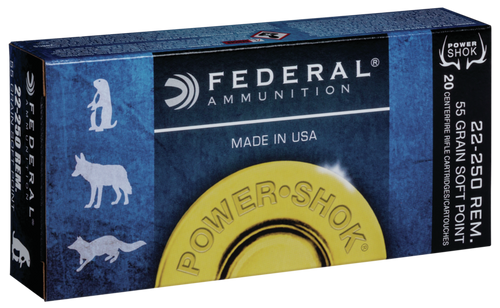 Federal Power-Shok - 22-250 Remington 55 Grain Soft Point - 200 Rounds - Case