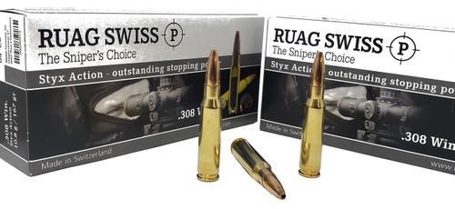 Swiss P Ammunition - .308 Winchester - 167 Grain Styx Action Hollow Point - 20 Rounds - Brass Case