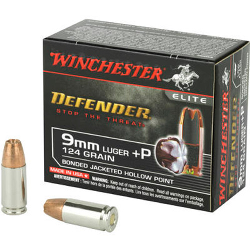 Winchester Defender Ammunition - 9 MM Luger +P - 124 Grain Bonded Hollow Point - 20 Rounds - Nickle Plated Brass Case