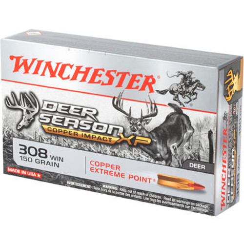 Winchester Copper Deer Season -308 Winchester - 150 Grain Copper Extreme Point - 20 Rounds - Brass Case