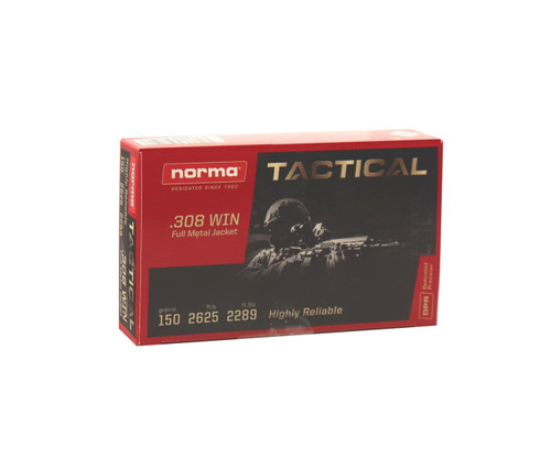 Norma Tactical Ammunition - 308 Winchester - 150 Grain Full Metal Jacket - 20 Rounds - Brass Case