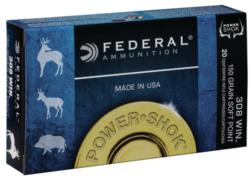 Federal Power-Shok Ammunition - 308 Winchester - 150 Grain Soft Point - 200 Rounds - Case