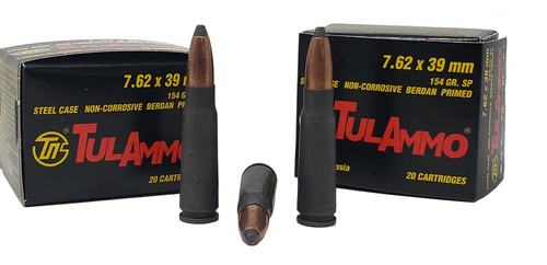 Tula Ammunition - 7.62x39 MM - 154 Grain Soft Point - 100 Rounds W/ Free Ammo Can