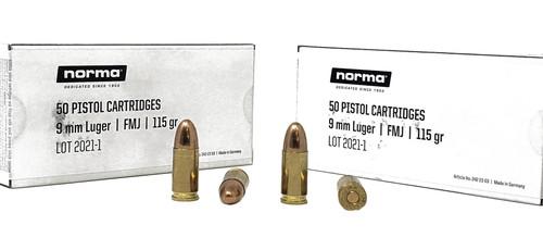 Norma Range & Training Ammunition - 9 MM Luger - 115 Grain Full Metal Jacket - 50 Rounds - Brass Case
