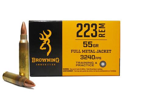 Browning Ammunition - 223 Remington - 55 Grain Full Metal Jacket - 500 Rounds - Brass Case