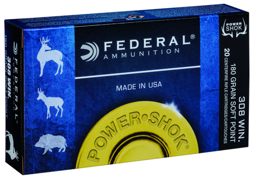Federal Power-Shok Ammunition  - 308 Winchester - 180 Grain Soft Point - 200 Rounds - Case