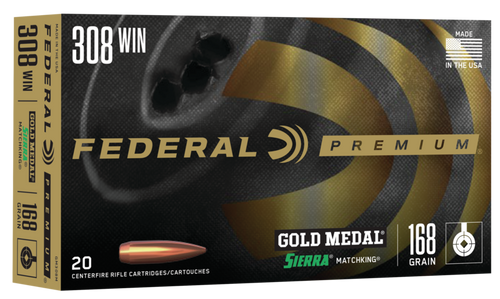 Federal Premium Gold Medal - 308 Winchester - 168 Grain Sierra MatchKing Hollow Point Boat Tail - 20 Rounds - Brass Case