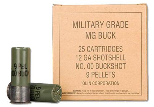 """Winchester Military Grade Ammunition - 12 Ga - 2 3/4"""" - 00 Buck - 9 Pellets - 25 Rounds"""