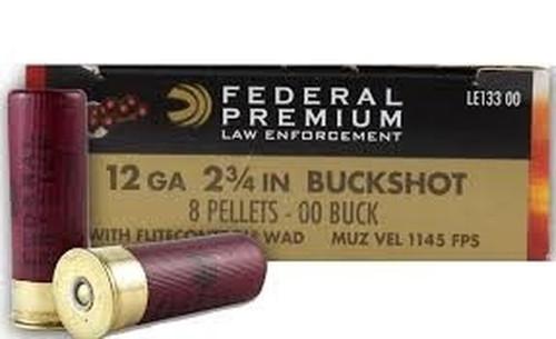 """Federal Premium Ammunition 12 Ga - 2 3/4"""" Buckshot - 00 Buck 8 Pellets - 5 Rounds"""