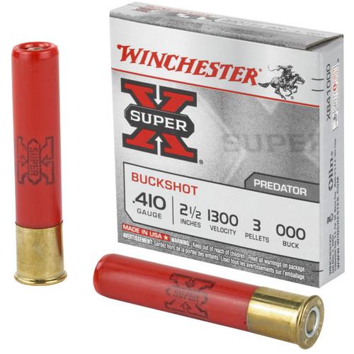 """Winchester Super-X Ammunition - 410 Gauge - 000 Buck - 2 1/2"""" - 3 Pellets - 5 Rounds"""