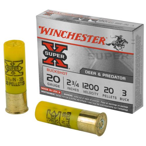 """Winchester Super-X Ammunition - 20 Gauge - 2 3/4"""" - 3 Buck - 20 Pellets - 5 Rounds"""