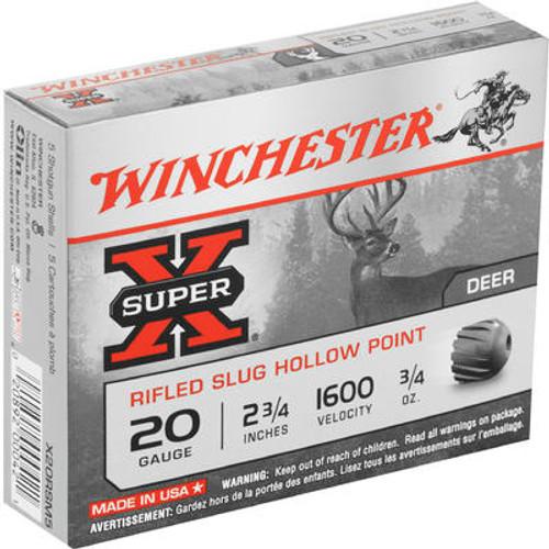 "Winchester Super-X Ammunition - 20 Gauge - 2 3/4"" - 3/4 oz. Slug - 5 Rounds"