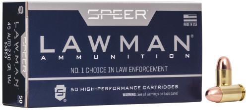 Speer Lawman Ammunition - 45 Auto - 230 Grain Total Metal Jacket - 50 Rounds - Brass Case