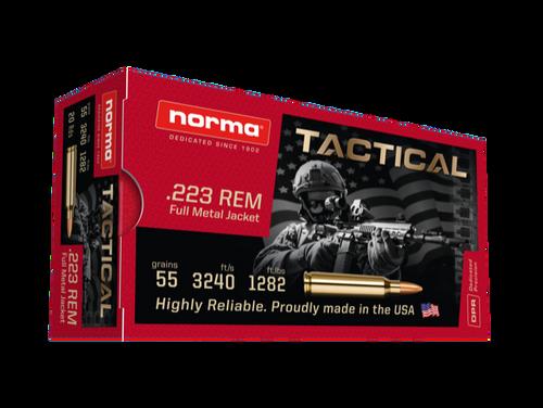 Norma Ammunition - 223 Remington - 55 Grain Full Metal Jacket - 20 Rounds - Brass Case