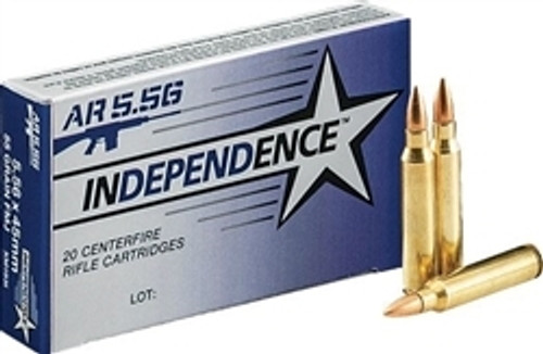 Independence Ammunition - 5.56x45 MM - 55 Grain Full Metal Jacket - 20 Rounds - Brass Case