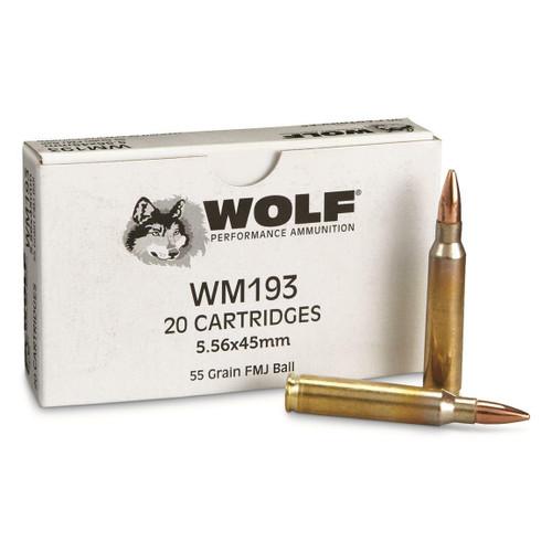 Wolf Ammunition - 5.56x45mm NATO M193 - 55 Grain Full Metal Jacket - 20 Rounds - Brass Case