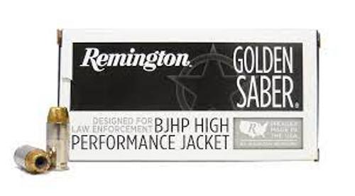 Remington Golden Saber Ammunition - 40 S&W - 180 Grain Brass Jacket Hollow Point - 50 Rounds - Nickel Plated Brass Case