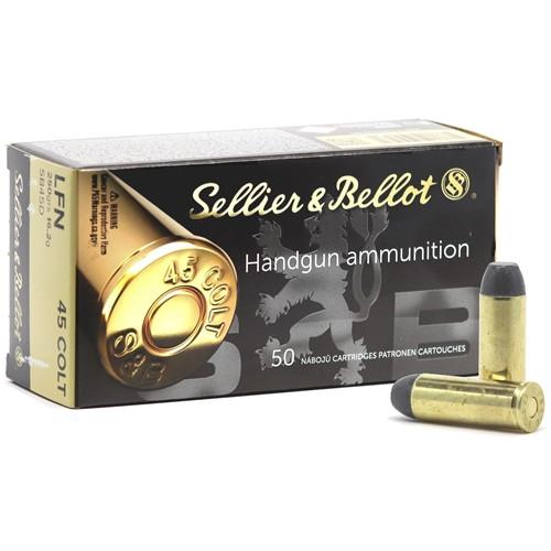 Sellier & Bellot Ammunition - 45 Long Colt - 250 Grain Lead Flat Nose - 50 Rounds - Brass Case