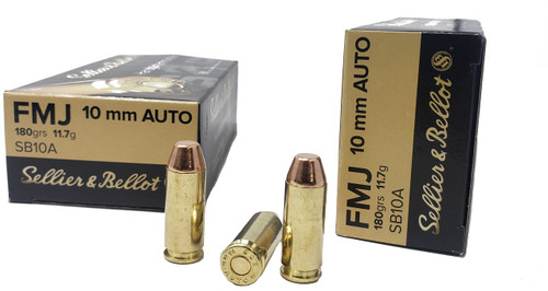 Sellier & Bellot Ammunition - 10 MM Auto - 180 Grain Full Metal Jacket - 50 Rounds - Brass Case