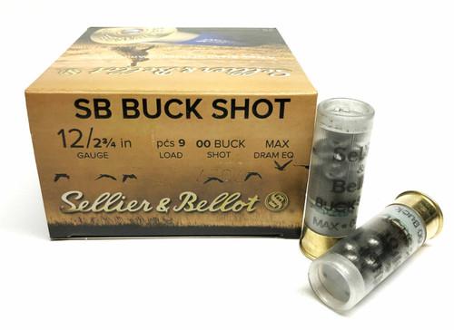 """Sellier & Bellot Ammunition - 12 Gauge - 2 3/4"""" - 9 Pellets - 00 Buck Shot - 25 Rounds"""