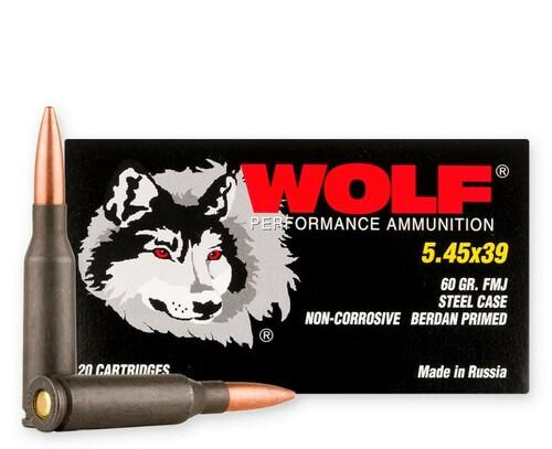 Wolf Performance Ammunition - 5.45x39 MM - 60 Grain Full Metal Jacket - 1000 Rounds - Steel Case