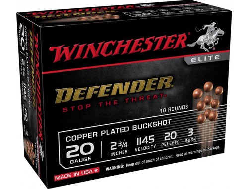 "Winchester Defender Ammunition - 20 Gauge - 2 3/4"" - 3 Buck - 20 Pellets - Copper Plated Buckshot - 10 Rounds"