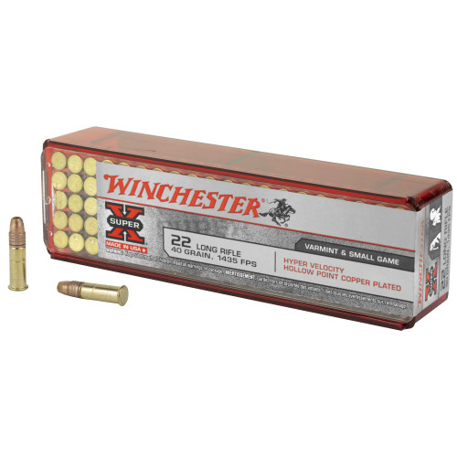 Winchester Super-X Ammunition - 22 Long Rifle - 40 Grain Copper Plated Hollow Point - 100 Rounds - Brass Case