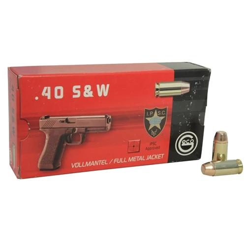 Geco Ammunition - 40 S&W - 180 Grain Full Metal Jacket - 50 Rounds - Brass Case