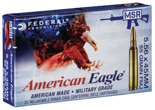 Federal American Eagle Ammunition - 5.56x45mm NATO - 55 Grain XM193 Full Metal Jacket Boat Tail - 500 Rounds - Brass Case