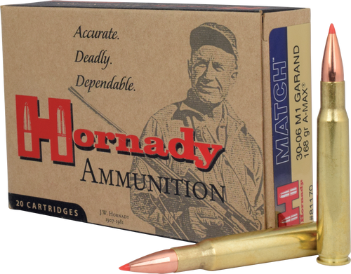 Hornady Vintage Match - 30-06 Springfield (M1 Garand) - 168 Grain A-Max Boat Tail - 200 Rounds - Case