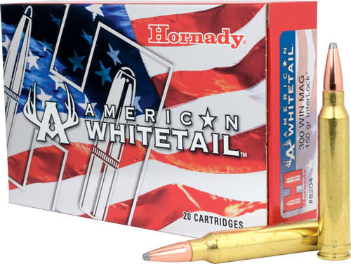 Hornady American Whitetail - 300 Winchester Magnum - 150 Grain Interlock Soft Point - 200 Rounds - Case